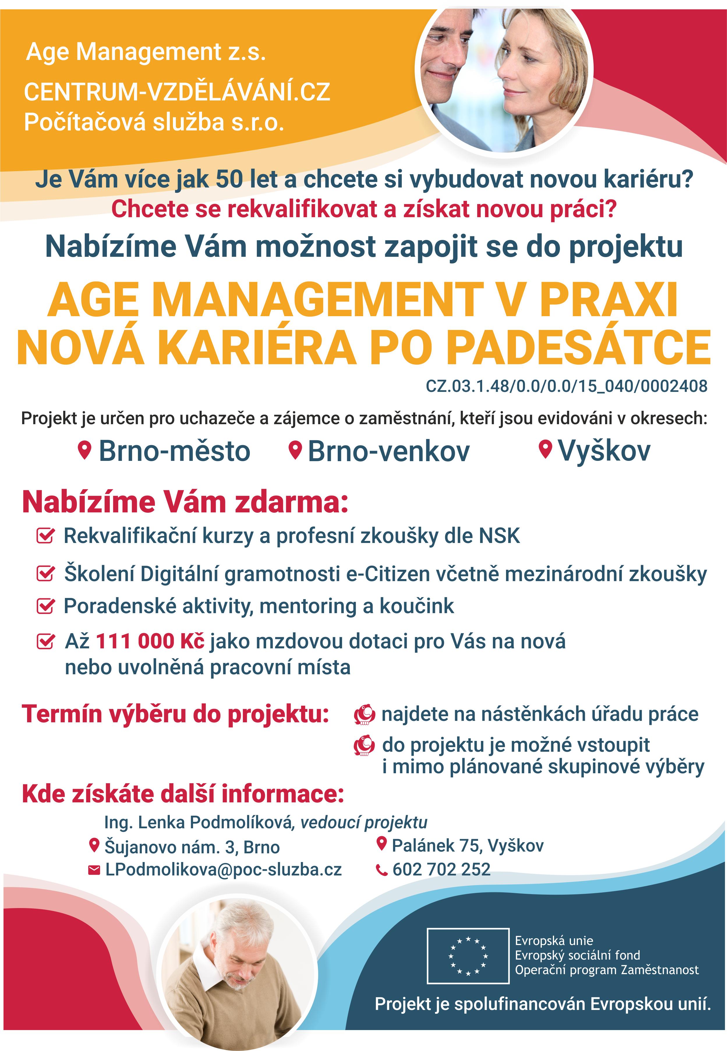 Leták - Age management v praxi - nová kariéra po padesátce