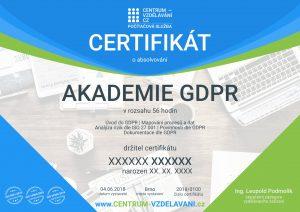 GDPR Certifikát - anonymizovaný