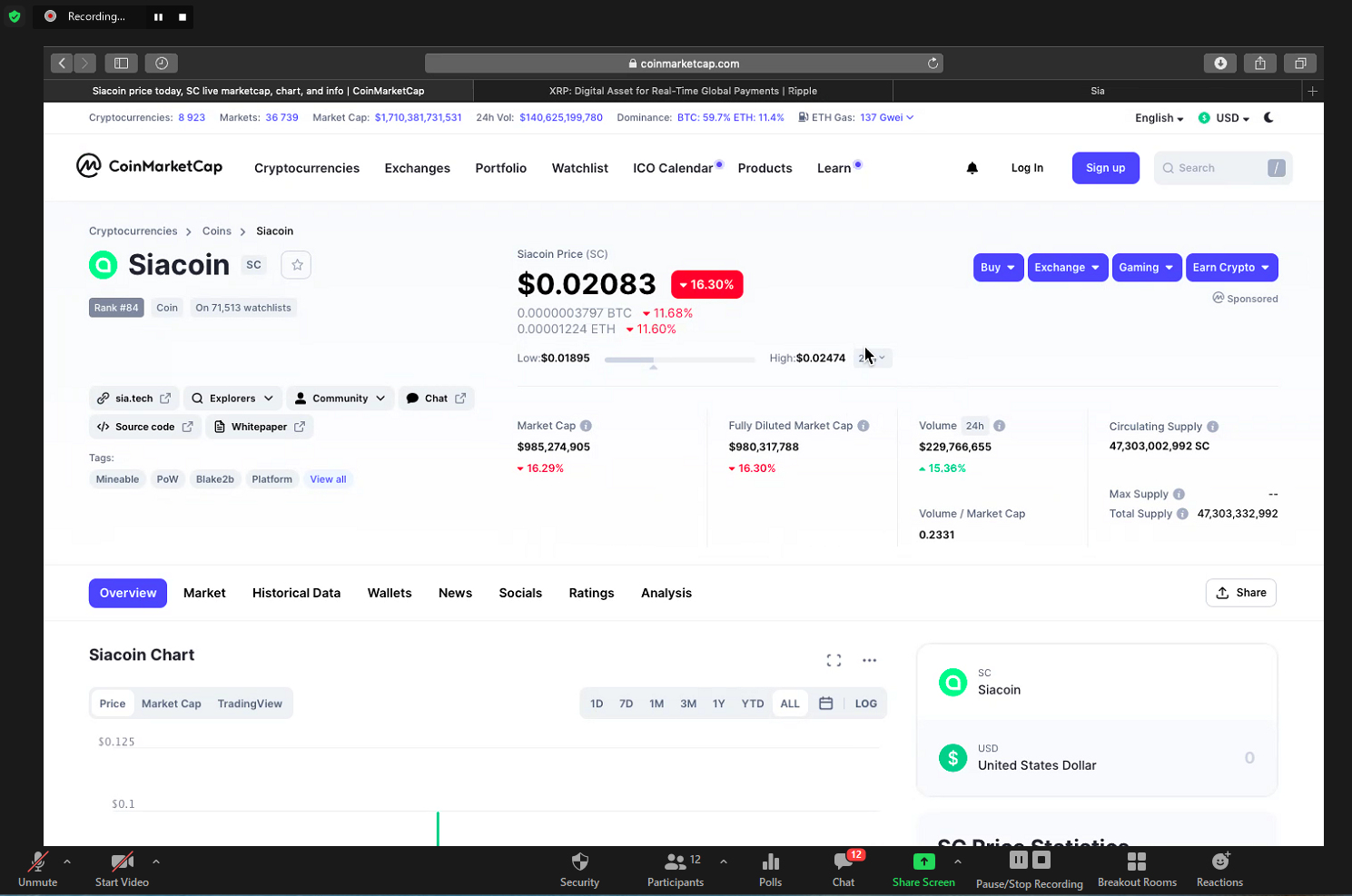Záznam z výuky - Kryptoměny a blockchain - SiaCoin
