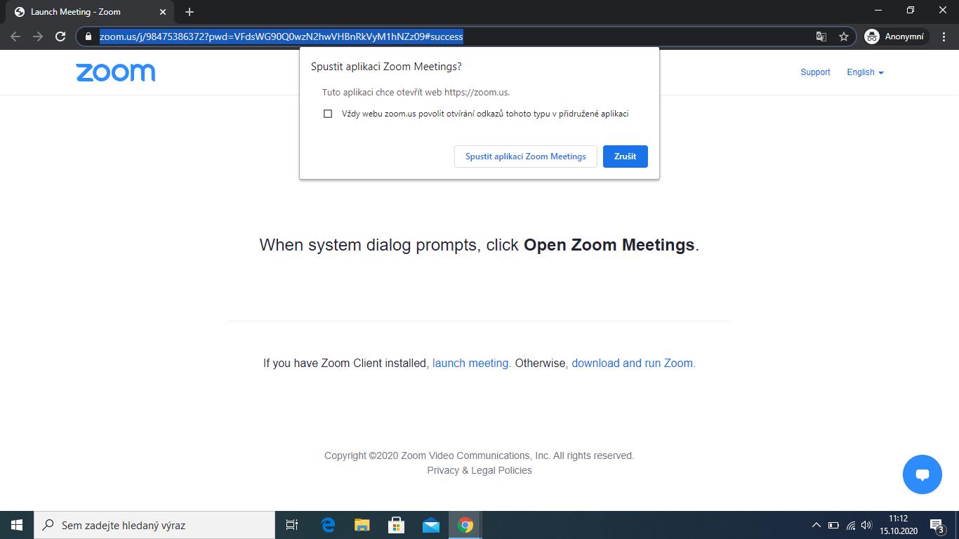zoom - vyzva pro otevření aplikace z linku