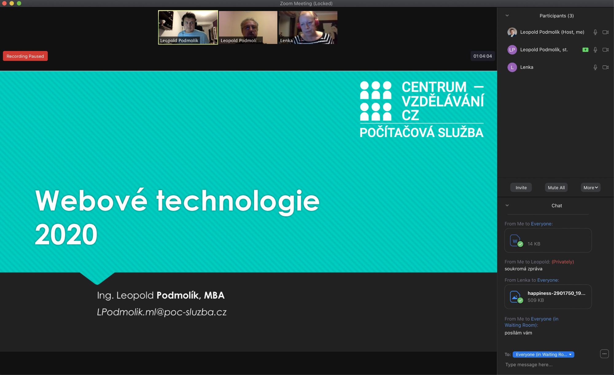 zoom - ukázka virtuální místnosti - on-line výuka